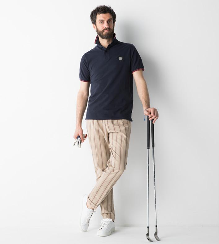 ジェンテ スタイル46 Golf Style_2 STONEISLAND(ストーンアイランド)ポロシャツ,BRIGLIA(ブリリア)パンツ,COMMONCUT(コモンカット)シューズ