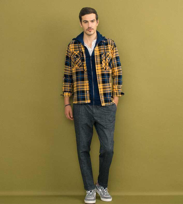 ジェンテ スタイル72 2018 AUTUMN_WINTER GIANNETTO(ジャンネット)のシャツ、SOUTHYARN(サウスヤーン)のスウェットパーカー、BRIGLIA(ブリリア)パンツのコーディネート_メイン画像
